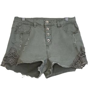 Ardene Olive Green Lace Distressed Shorts
